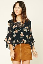 Forever 21 Contemporary Floral Bell-Sleeve Top