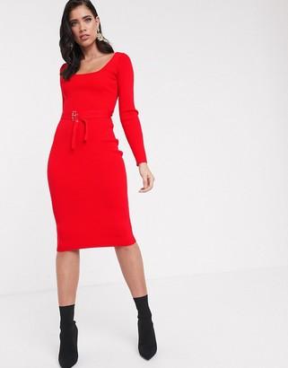 Asos Design DESIGN square neck belted midi dress-Red