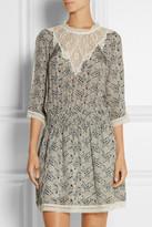 Sea Lace-trimmed printed silk-georgette mini dress