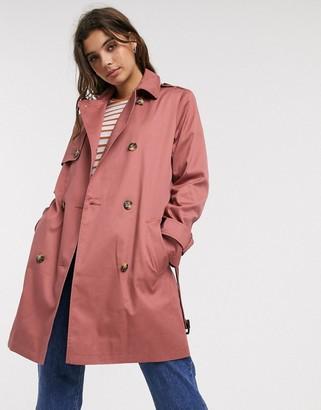ASOS DESIGN trench coat in dusty rose