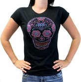 Biker Life Clothing Biker Life USA Ladies Sugar Skull Rhinestone Crew Neck T-Shirt