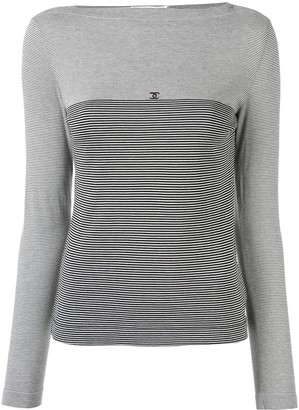 Chanel Pre Owned 1997s CC border long sleeve top