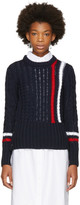 Thom Browne Navy Aran Cable Knit Stripes Crewneck Sweater