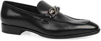Roberto Cavalli Men's Leather Snake-Bit Loafers