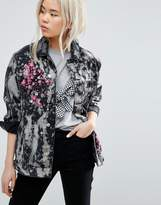 Asos Girlfriend Jacket in Bleach Splatter Wash and Blossom Embroidery