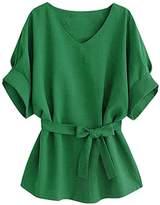 Fashion Story Women Vogue V-neck Linen Wide Hem Plus Size Tunic Blouse Tee T-Shirt Tops