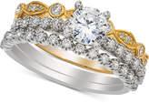 Macy's Diamond Three- Piece Bridal Set (1 ct. t.w.) in 14k White and Yellow Gold