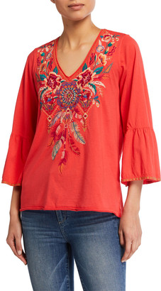 Johnny Was Imani Embroidered Flare-Sleeve Tee
