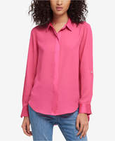 DKNY High-Low Roll-Tab-Sleeve Shirt, Created for Macy's