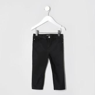 River Island Mini Girls Black Coated Jean