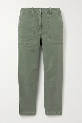 Derek Lam 10 Crosby Cropped Cotton-twill Tapered Pants - Army green