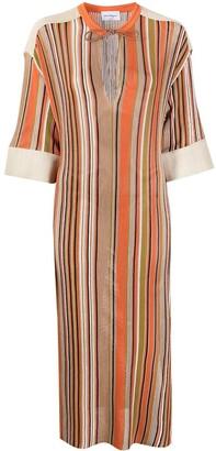 Salvatore Ferragamo Fine-Knit Striped Midi Dress