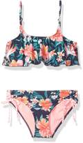 Roxy Big Girls' Waves Flutter Two Piece Bikini Swimsuit Set