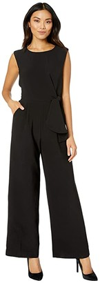 Tahari ASL Stretch Crepe Side Tie Jumpsuit (Black) Women's Jumpsuit & Rompers One Piece