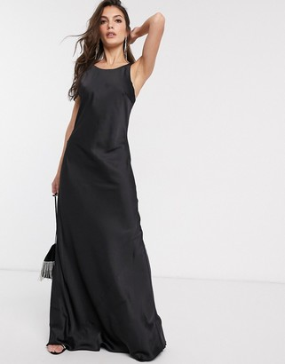 And other stories & round neck maxi slip dress in black