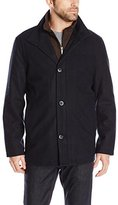 London Fog Men's Wool Blend Car Coat with Bib