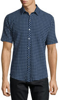 Zachary Prell Windowpane Short-Sleeve Woven Sport Shirt, Navy