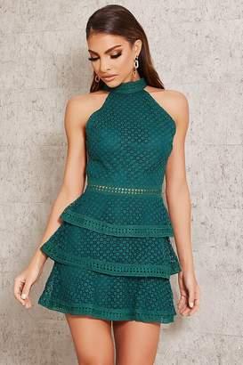 I SAW IT FIRST Emerald Green Crochet Lace Open Back Dress