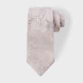 Paul Smith Men's Light Pink Tonal Floral Embroidery Narrow Silk Tie