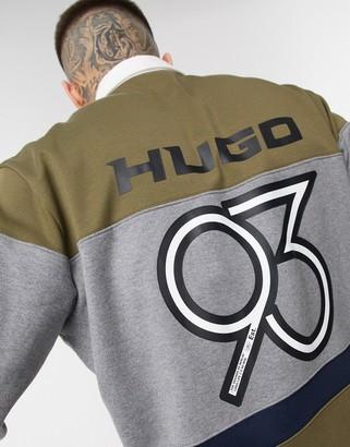 HUGO BOSS Dziggy Est 93 logo rubgy sweat in khaki
