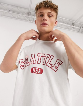 New Look oversized red Seattle t-shirt in white