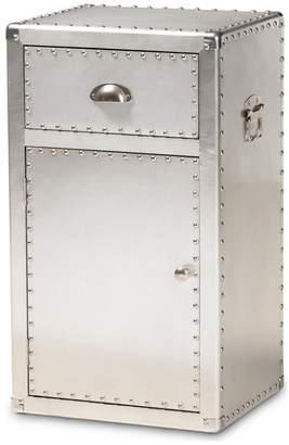 Baxton Studio Glannant French Industrial Silver Metal 1-Door Accent Storage Cabinet