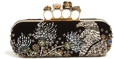 Alexander McQueen Crystal-embellished velvet knuckle clutch