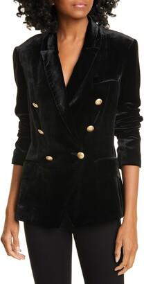 L'Agence Kenzie Double Breasted Velvet Blazer