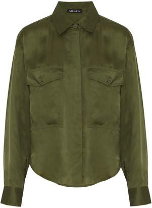 Mo&Co. Dropped-Shoulder Button-Front Shirt