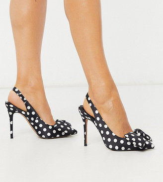 Asos Design DESIGN Wide Fit Pheebs slingback stiletto heels with bow in black and white polka dot