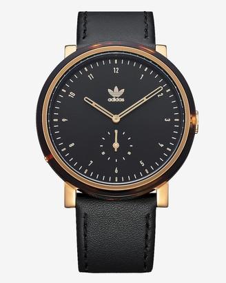Express Adidas Men'S District Al3 Black Leather Strap Watch