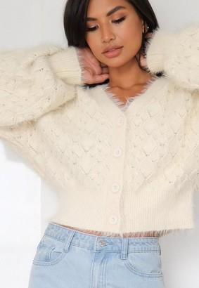 Missguided White Feather Pointelle Cardigan