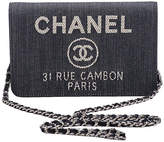 One Kings Lane Vintage Chanel Denim & Leather Crossbody Bag