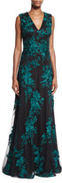 David Meister Sleeveless Embroidered Tulle Gown, Black/Jade