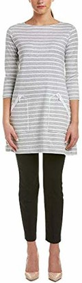 Joan Vass Women's Stripe Cotton Zip Pocket Tunic