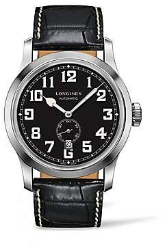 Longines Men's Heritage Military Embossed Leather Strap Watch