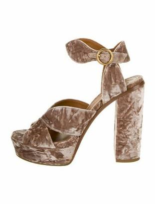 Chloé Animal Print Cutout Accent Sandals Pink