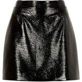 River Island Womens Black vinyl mini skirt