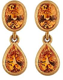 Malcolm Betts Women's Orange Garnet Double-Drop Earrings