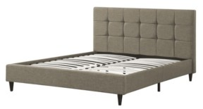 AC Pacific Modern Upholstered Square Stitched Queen Platform Bed with Wooden Slats