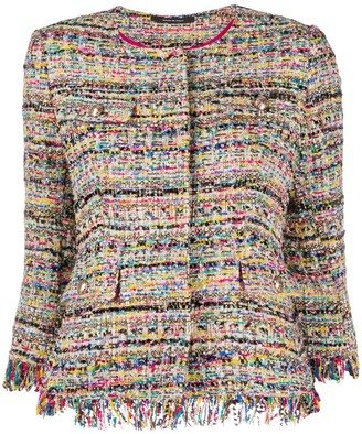 Tagliatore Cropped Sleeves Tweed Jacket