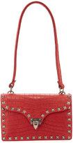 Valentino Alligator-Embossed Shoulder Bag, Red