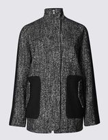 Marks and Spencer Textured Funnel Neck Overcoat