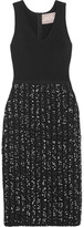 Lela Rose Ribbed-knit And Bouclé-tweed Midi Dress - Black