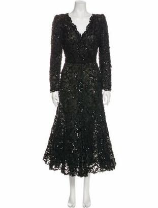 Oscar de la Renta Vintage Midi Length Dress Black