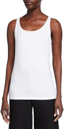 Eileen Fisher Plus Size Slim Scoop-Neck Jersey Shell