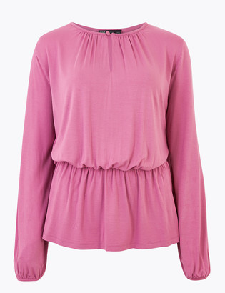 Marks and Spencer Waisted Long Sleeve Blouse