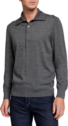 Tom Ford Men's Extrafine Merino Wool Long-Sleeve Polo Sweater