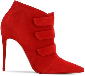 Christian Louboutin 100mm Triniboot Suede Boots W/ Straps