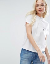 Daisy Street High Neck T-Shirt With Heart Embroidery